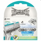 Кассеты для станка Wilkinson Sword Quattro Titanium Sensitive 4шт